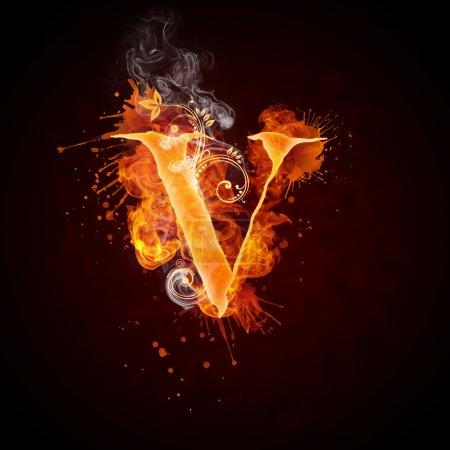 Fuego remolino letra V
