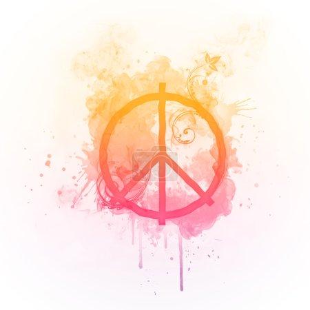 Photo pour Tourbillon ensoleillé pacifisme isolé sur fond noir. Conception informatique . - image libre de droit