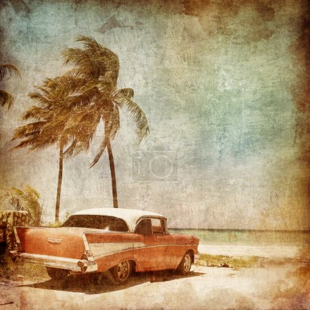 Photo for Caribbean Resort on the Old Paper Style Photo. Stylization. - Royalty Free Image