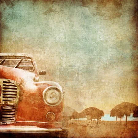Photo for Old Car on the Old Paper Style Photo. Stylization. - Royalty Free Image