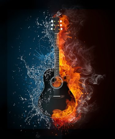 Photo for Electric Guitar on Fire and Water Isolated on Black Background. Computer Graphics. - Royalty Free Image