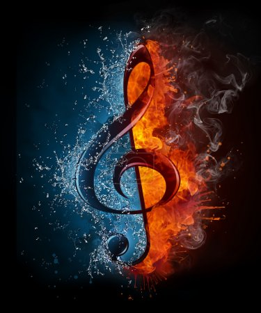 Photo for Treble Clef in Fiere and Water isolated on Black Background. - Royalty Free Image