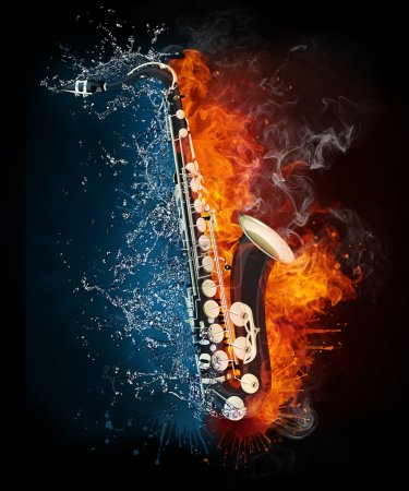 Photo for Saxophone in Fire and Water Isolated on Black Background - Royalty Free Image