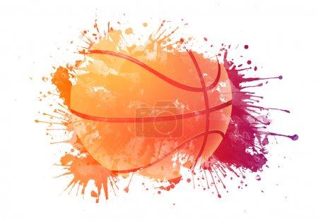 Photo pour Ballon de basket en watrcolor isolé sur fond blanc. - image libre de droit