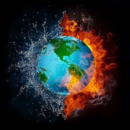 Photo for Globe in Fire and Water Isolated on Black Background. Computer Graphics. - Royalty Free Image