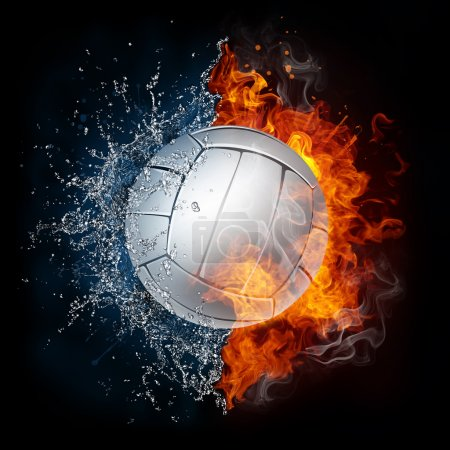 Volleyball Ball in Fire and Water Isolated on Blac...