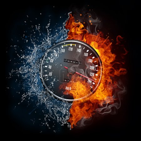 Photo for Speedometer in Fire and water Isolated on Black Background - Royalty Free Image