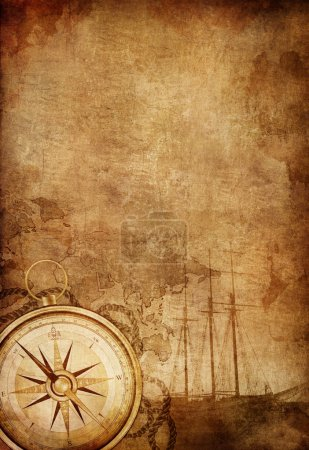 Photo for Old Paper Texture with Retro Styled Compass, Ship and Rope. - Royalty Free Image