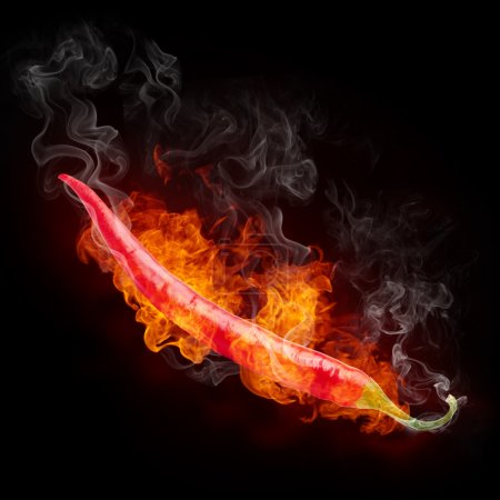 Photo for Hot Pepper in Fire Isolated on Black Background. - Royalty Free Image