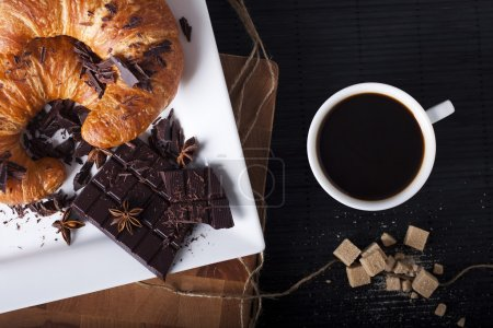Photo for French Breakfast. Coffee with Croissant and Chocolate. Photo. - Royalty Free Image