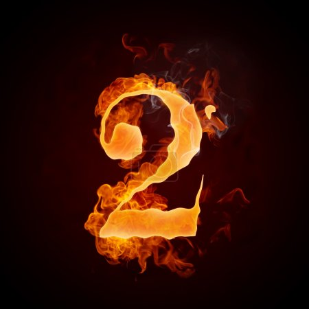 Photo for Fire Number 2 Isolated on Black Background. Computer Design. - Royalty Free Image