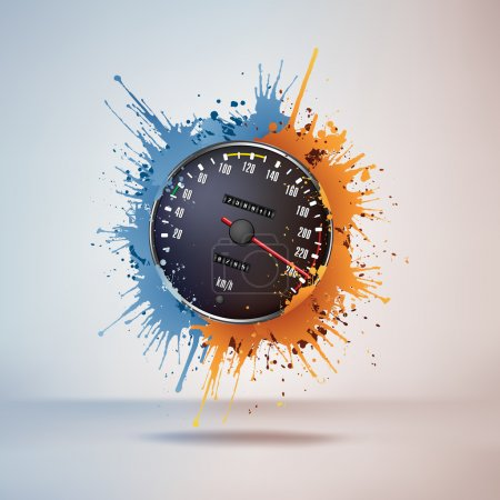 Illustration pour Compteur de vitesse dans la peinture sur fond de vignette. Vecteur . - image libre de droit