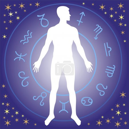 Illustration for Human silhouette with zodiac wheel - Royalty Free Image