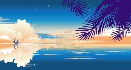 Illustration for Tropical sunset banner - Royalty Free Image
