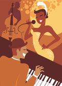 Retro style musicians playing jazz