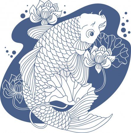Illustration for Vector illustration of koi carp under the water - Royalty Free Image