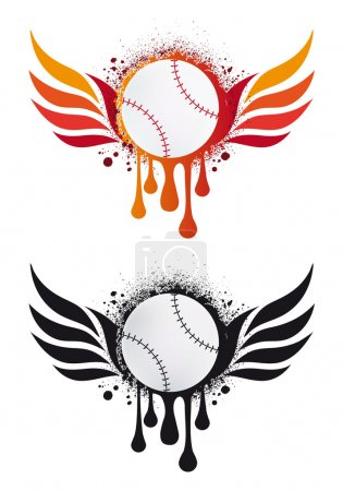 Baseball with fire wings, vector