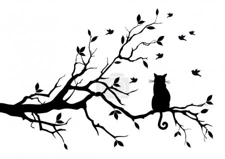 Illustration for Cat sitting on a tree, watching birds, vector background - Royalty Free Image