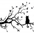 Cat sitting on a tree, watching birds, vector back...