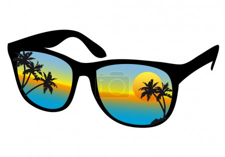 Sunglasses with sea sunset, vector