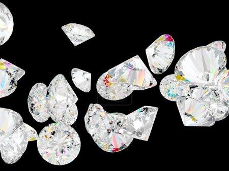 Photo pour Diamants ou pierres précieuses isolées sur fond noir - image libre de droit