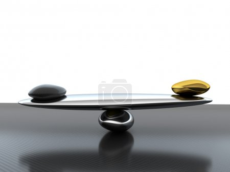 Balance: scales with carbon fiber shape and gold