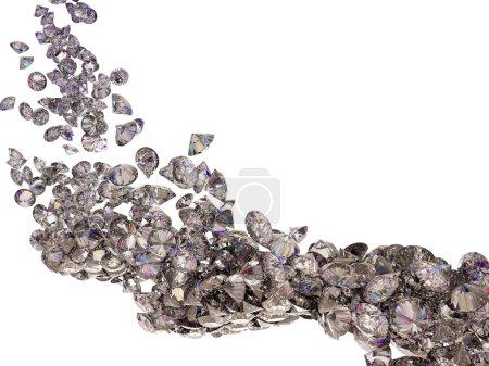 Photo pour Grand débit de diamants ou de pierres précieuses, isolé sur blanc - image libre de droit