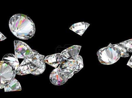 Photo pour Gros diamants ou pierres précieuses isolées sur fond noir - image libre de droit