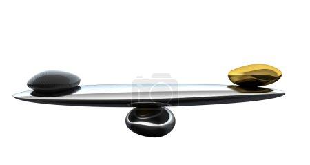 Photo pour Échelles de stabilité avec la forme de la fibre de carbone et or isolé sur blanc - image libre de droit