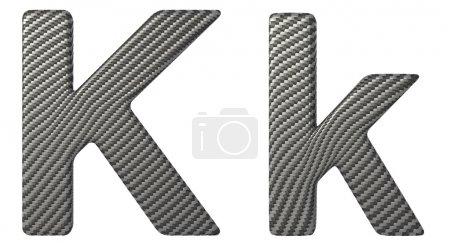 Carbon fiber font K lowercase and capital letters