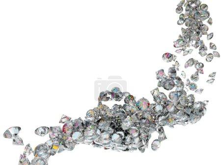 Photo pour Grand débit de diamants ou de pierres précieuses, isolé sur fond - image libre de droit