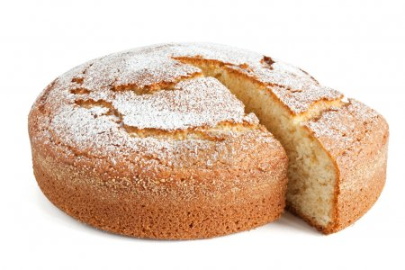Photo for Homemade yogurt cake isolated on white background with clipping path - Royalty Free Image