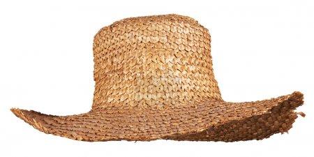 Photo pour Chapeau paille osier jaune isolé sur fond blanc - image libre de droit
