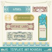Set of vector labels in art nouveau