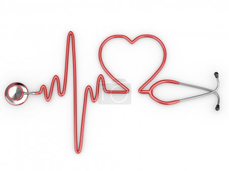 Photo for Stethoscope and a silhouette of the heart and ECG. 3d - Royalty Free Image