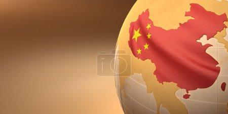 Photo pour Carte de la Chine sur Terre aux couleurs nationales. 3D - image libre de droit