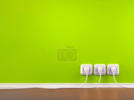 Plugs and Socket. Three-dimensional abstract background
