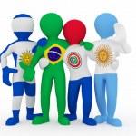 Mercosur. in color of national flag of Brazil, Arg...