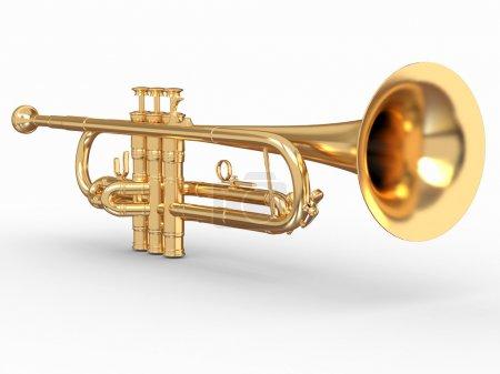 Photo pour Trompette dorée sur fond blanc isolé. 3d - image libre de droit