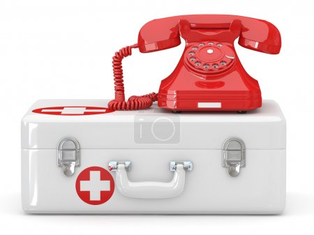 Helpline.Services. Phone on medical kit. 3d...