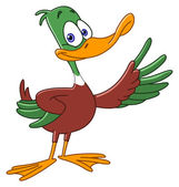 Cartoon duck presenting with his wing