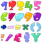 Cartoon numbers and signs
