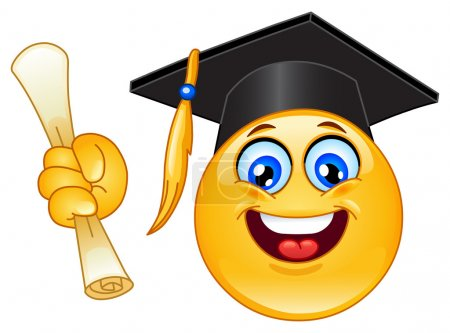 Illustration for Graduation emoticon - Royalty Free Image