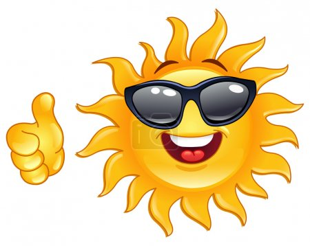 Illustration for Smiling sun showing thumb up - Royalty Free Image