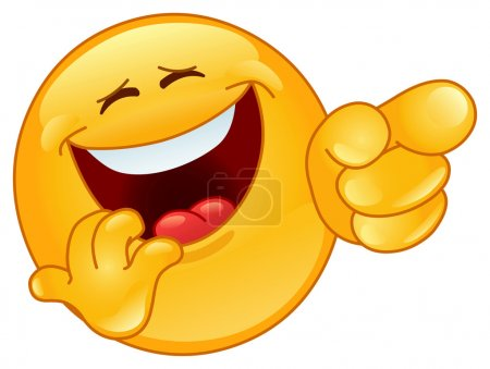Illustration for Laughing and pointing emoticon - Royalty Free Image