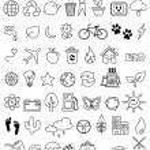 Eco doodle icon set...