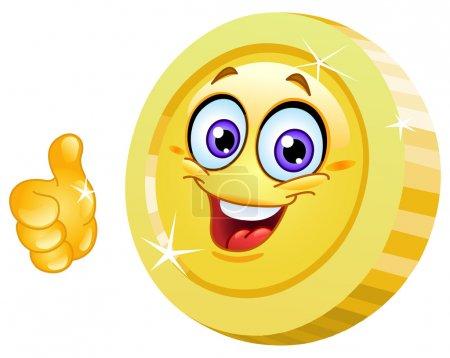 Illustration pour Pièce souriante montrant pouce vers le haut - image libre de droit