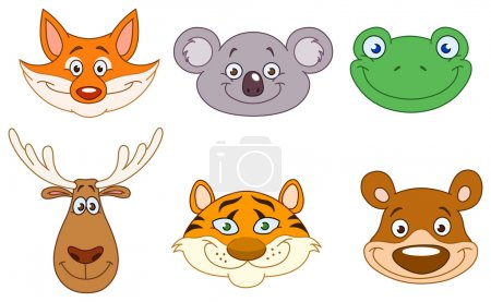Illustration for Cartoon animal head collection - Royalty Free Image