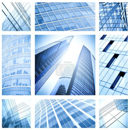 Photo for Contemporary collage of blue glass architectural buildings - Royalty Free Image