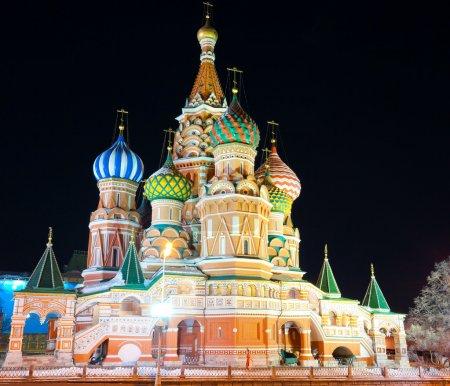 Basilikum-Kathedrale bei Nacht, Roter Platz, Moskau, Russland